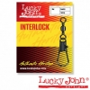 Вертлюги c застежкой Lucky John BARREL AND INTERLOCK Black 010 7шт.